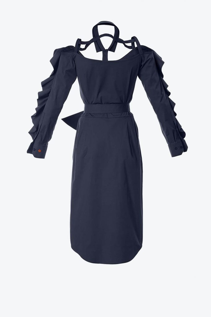 OL10000201 Ruffled bare shoulder dress navy blue2