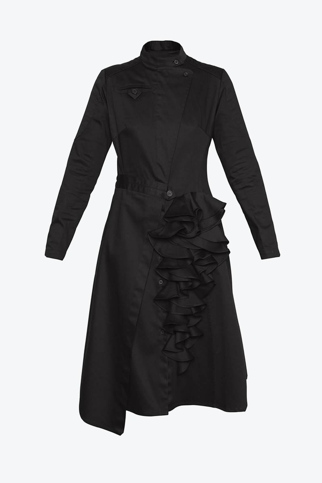 OL10000205 Asymmetric biker dress black1