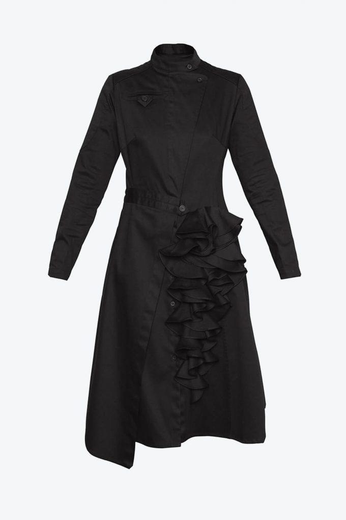 OL10000205 Asymmetric biker dress black1B