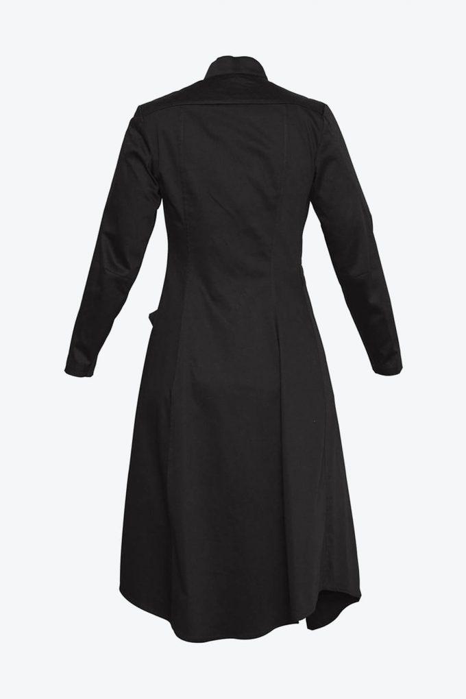 OL10000205 Asymmetric biker dress black2