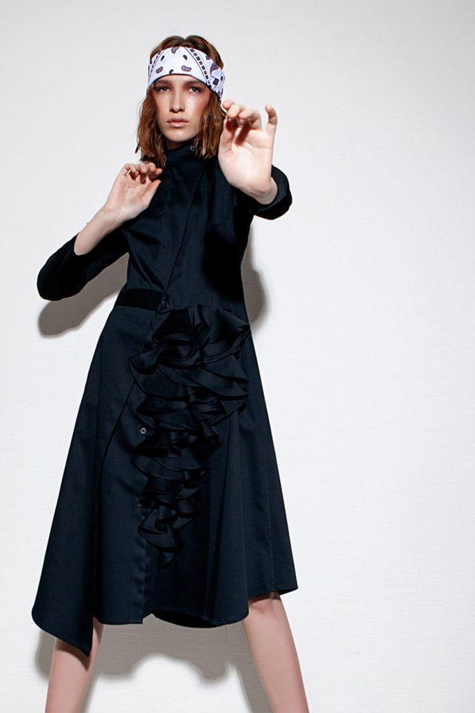 OL10000205 Asymmetric biker dress black3