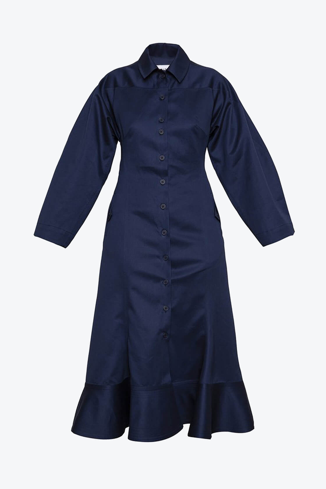 OL10000206 Wide sleeve dress navy blue1