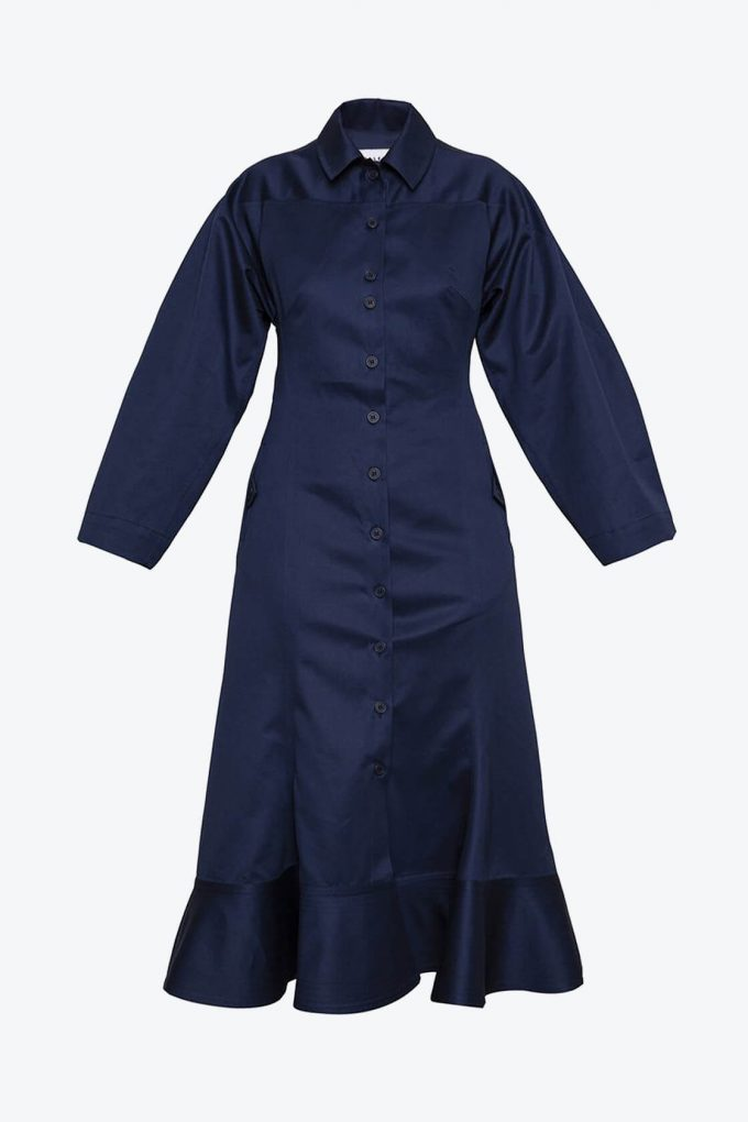 OL10000206 Wide sleeve dress navy blue1B