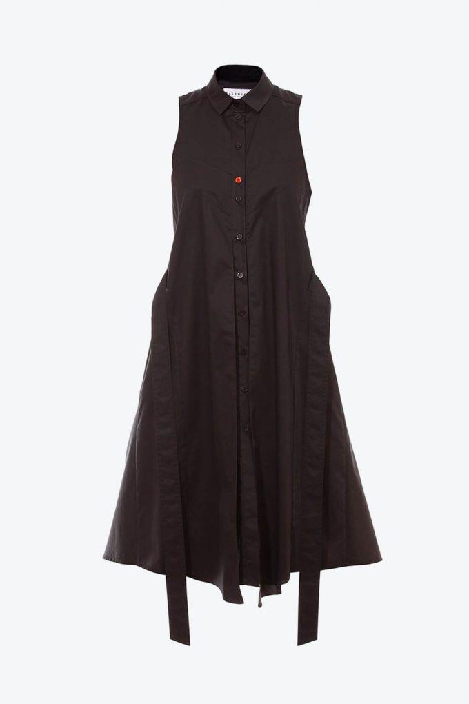 OL10000213 Sleeveless trapeze shirt dress1B