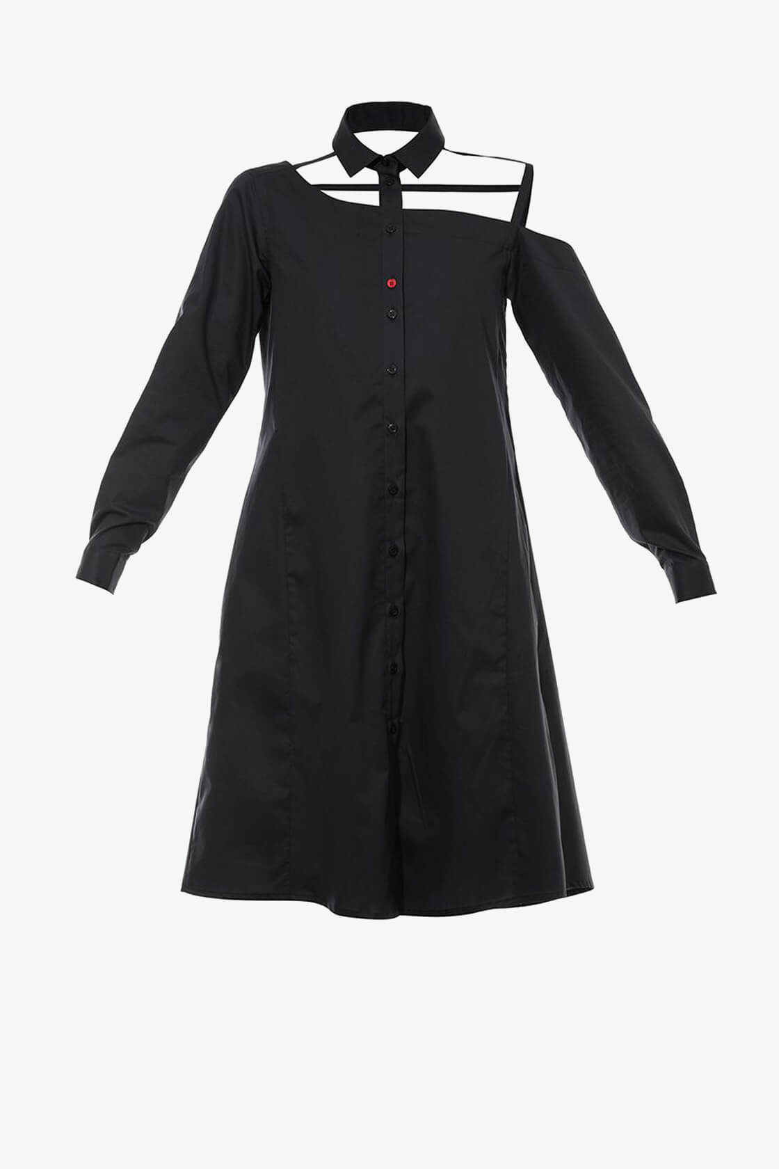 OL10000214 One shoulder shirtdress black1