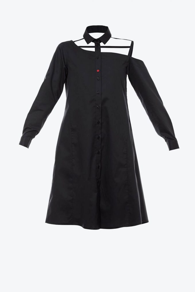 OL10000214 One shoulder shirtdress black1B
