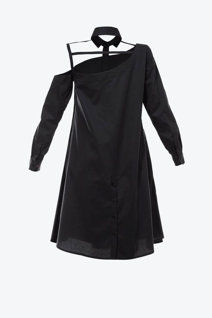 OL10000214 One shoulder shirtdress black2