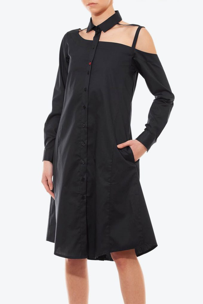 OL10000214 One shoulder shirtdress black3