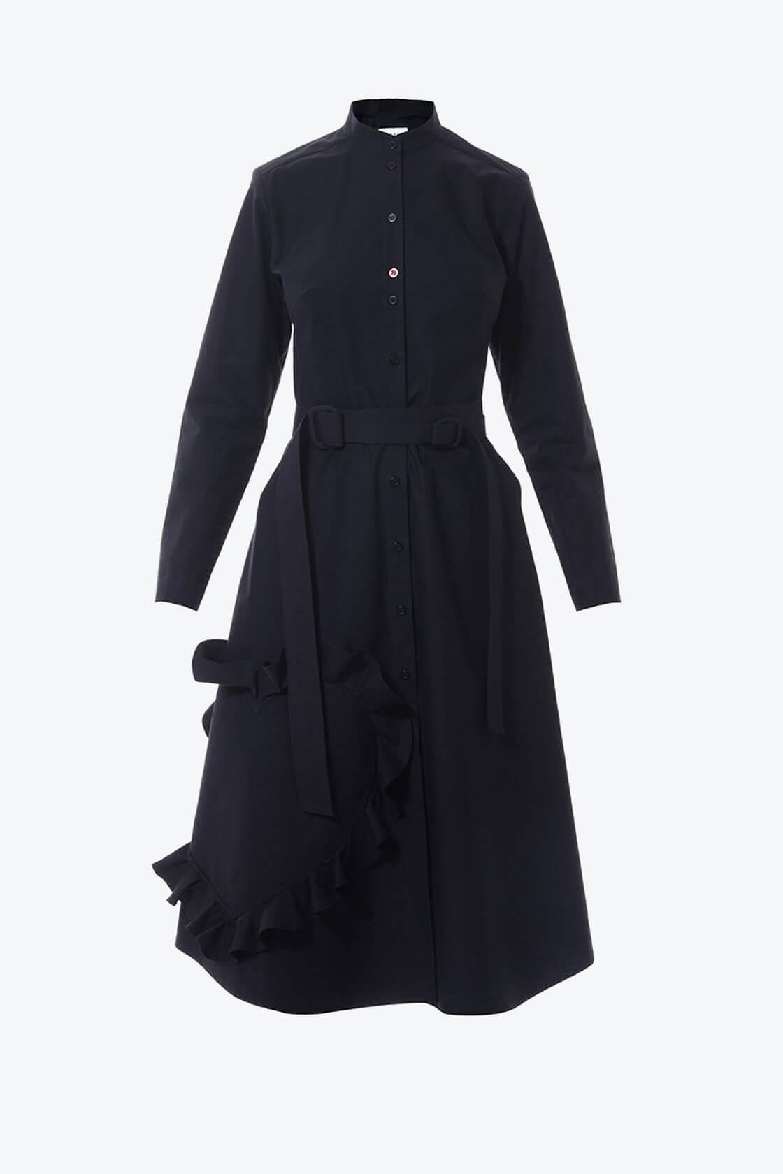 OL10000217 Mandarin collar shirtdress with ruffle heart aplique black1