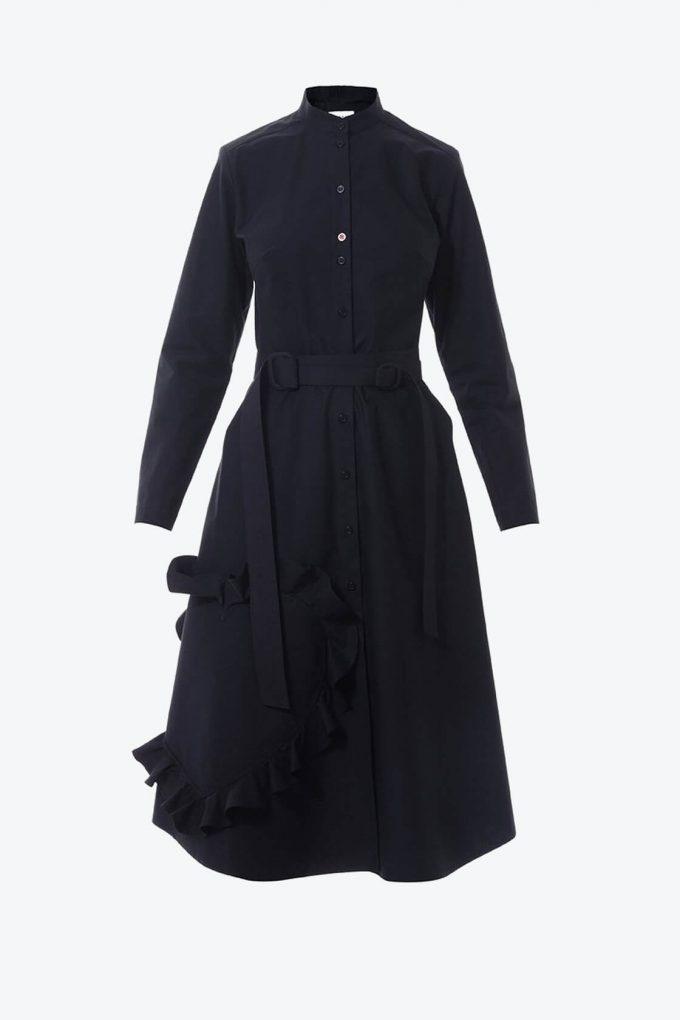 OL10000217 Mandarin collar shirtdress with ruffle heart aplique black1B