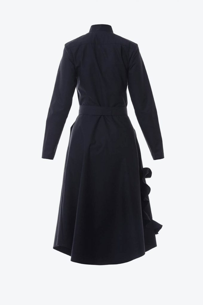 OL10000217 Mandarin collar shirtdress with ruffle heart aplique black2