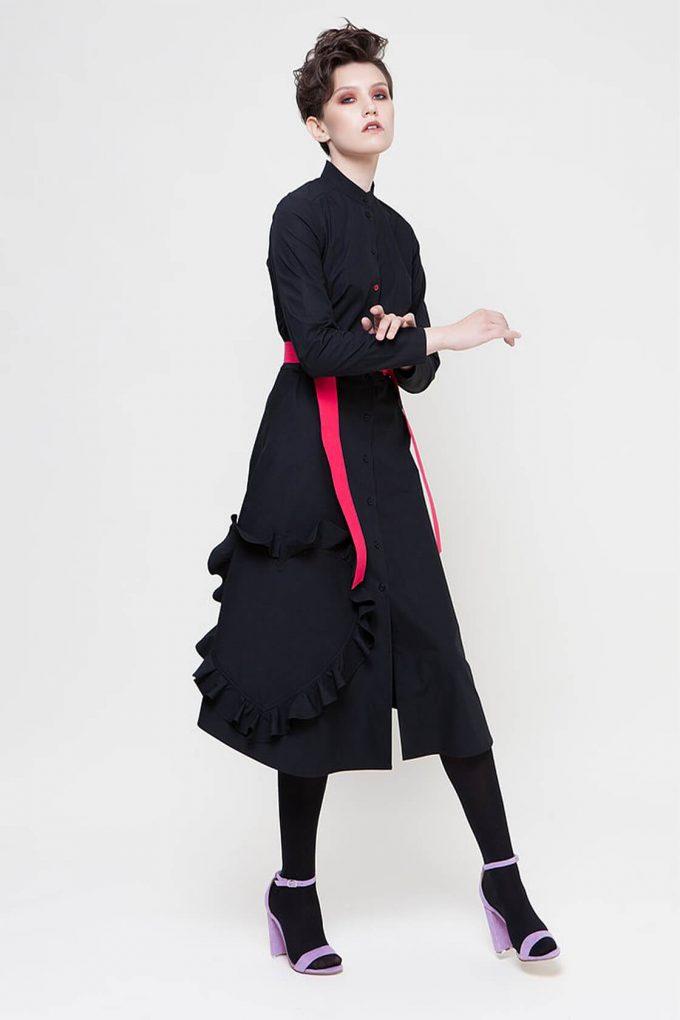 OL10000217 Mandarin collar shirtdress with ruffle heart aplique black3