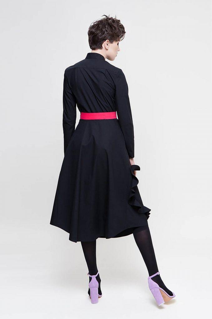 OL10000217 Mandarin collar shirtdress with ruffle heart aplique black4
