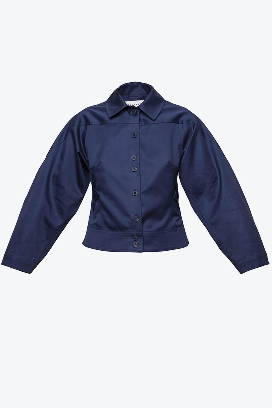 OL10000220 Wide sleeve jacket navy blue1