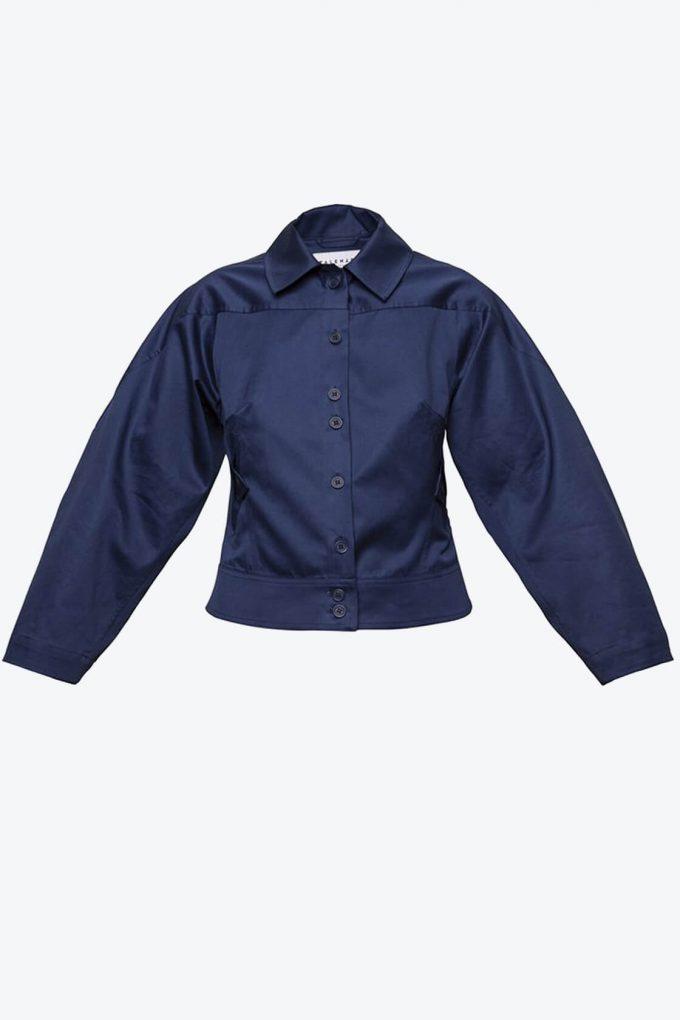 OL10000220 Wide sleeve jacket navy blue1B