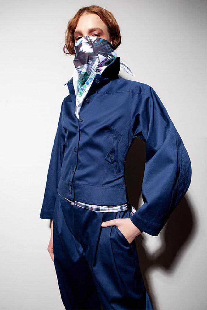 OL10000220 Wide sleeve jacket navy blue3