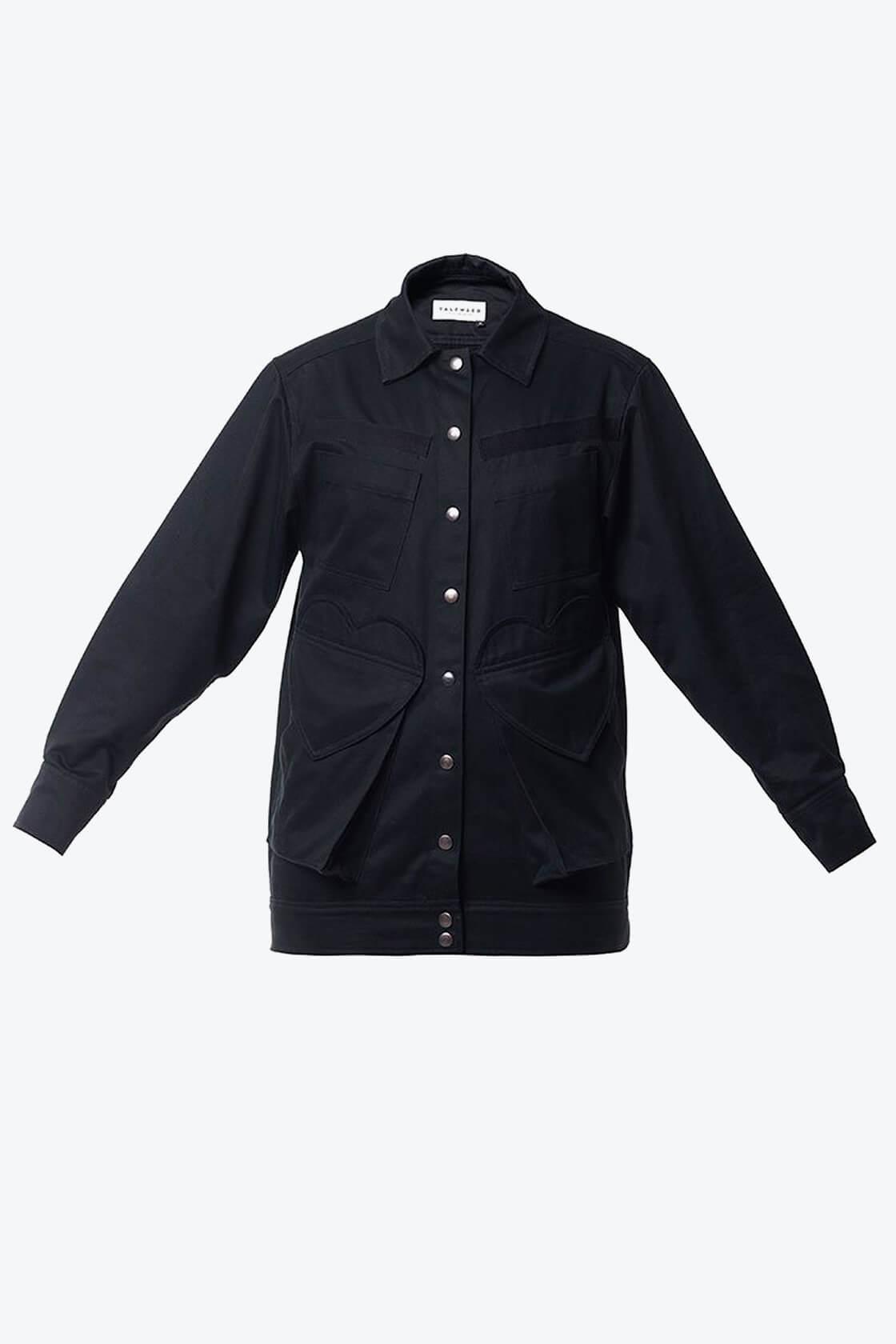 OL10000228 Black denim jacket1
