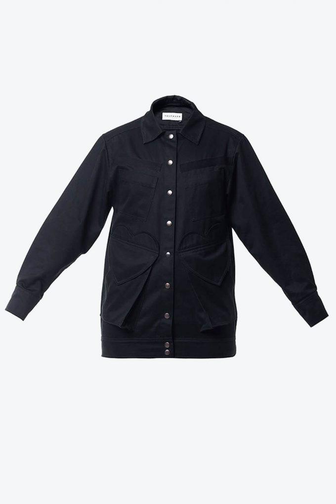 OL10000228 Black denim jacket1B