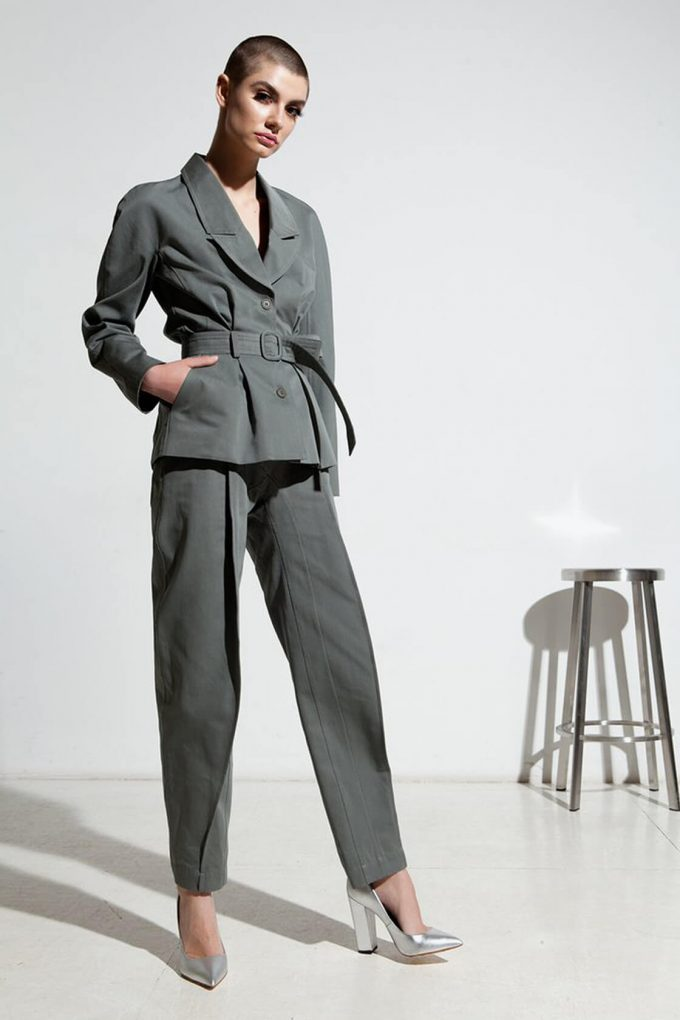 Ol10000229 Blazer With Belt And Side Pockets3
