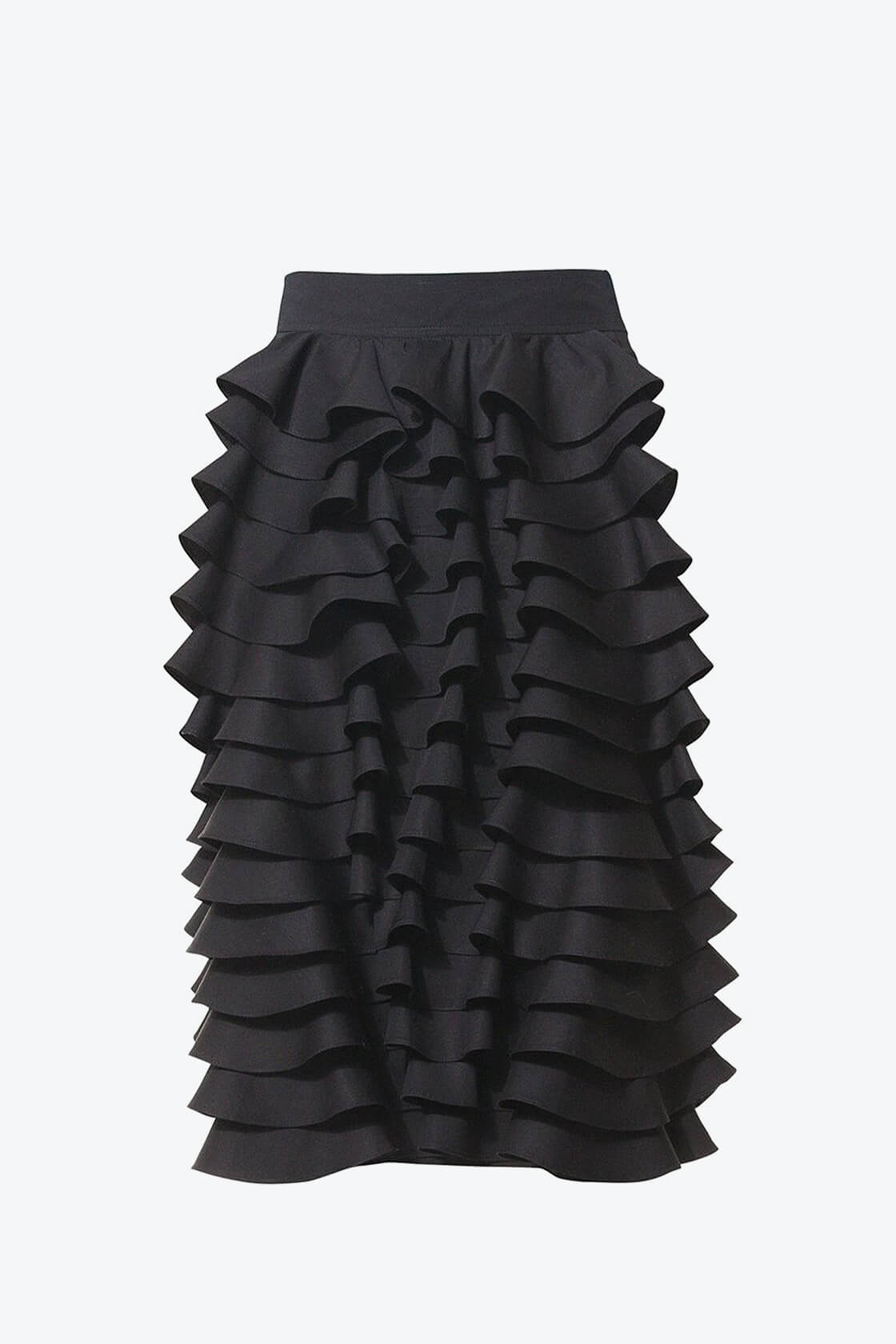 Ol10000230 Black Ruffle Pencil Skirt1