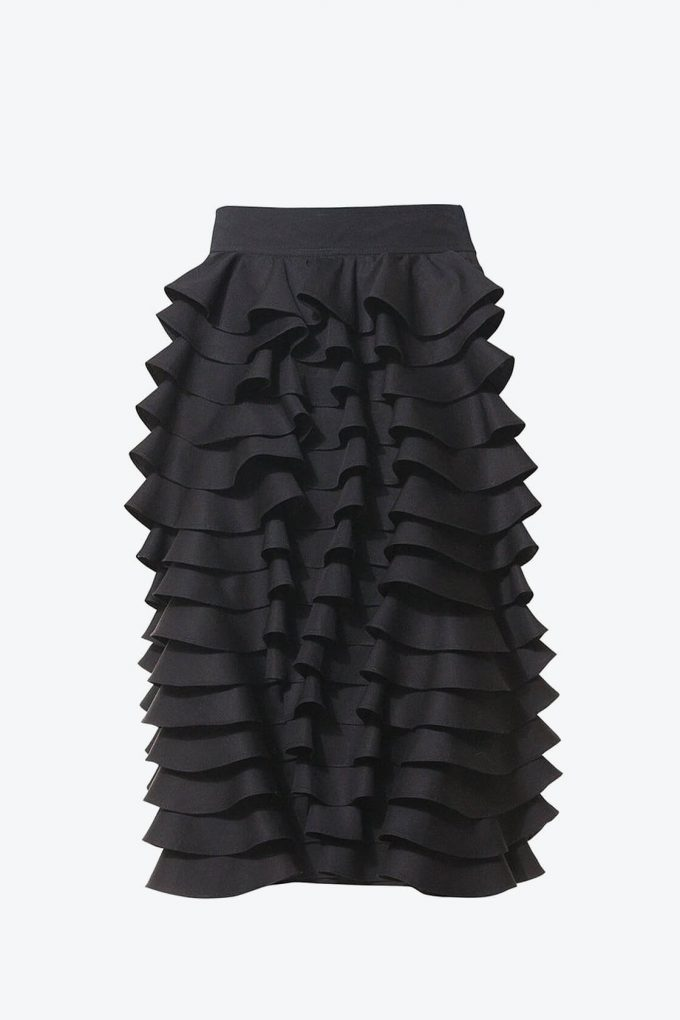 Ol10000230 Black Ruffle Pencil Skirt1B