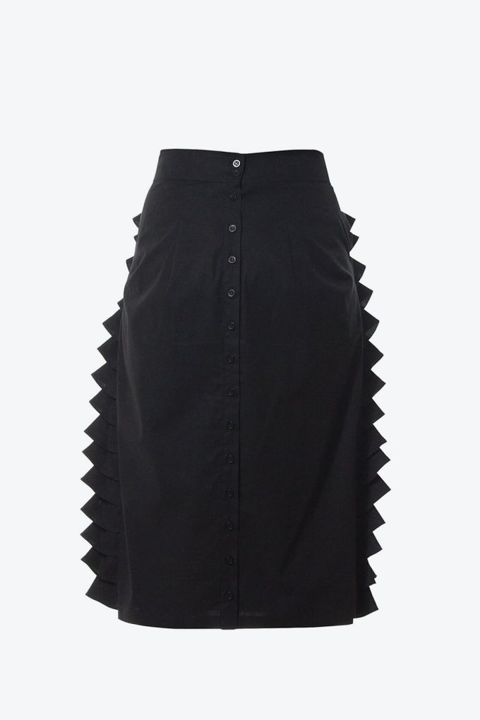 Ol10000230 Black Ruffle Pencil Skirt2