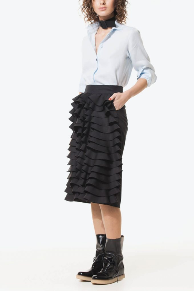 Ol10000230 Black Ruffle Pencil Skirt3