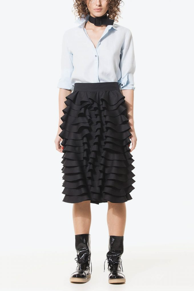 Ol10000230 Black Ruffle Pencil Skirt4