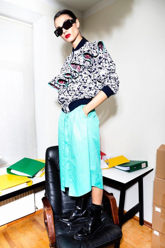 OL10000232 Double skirt green3