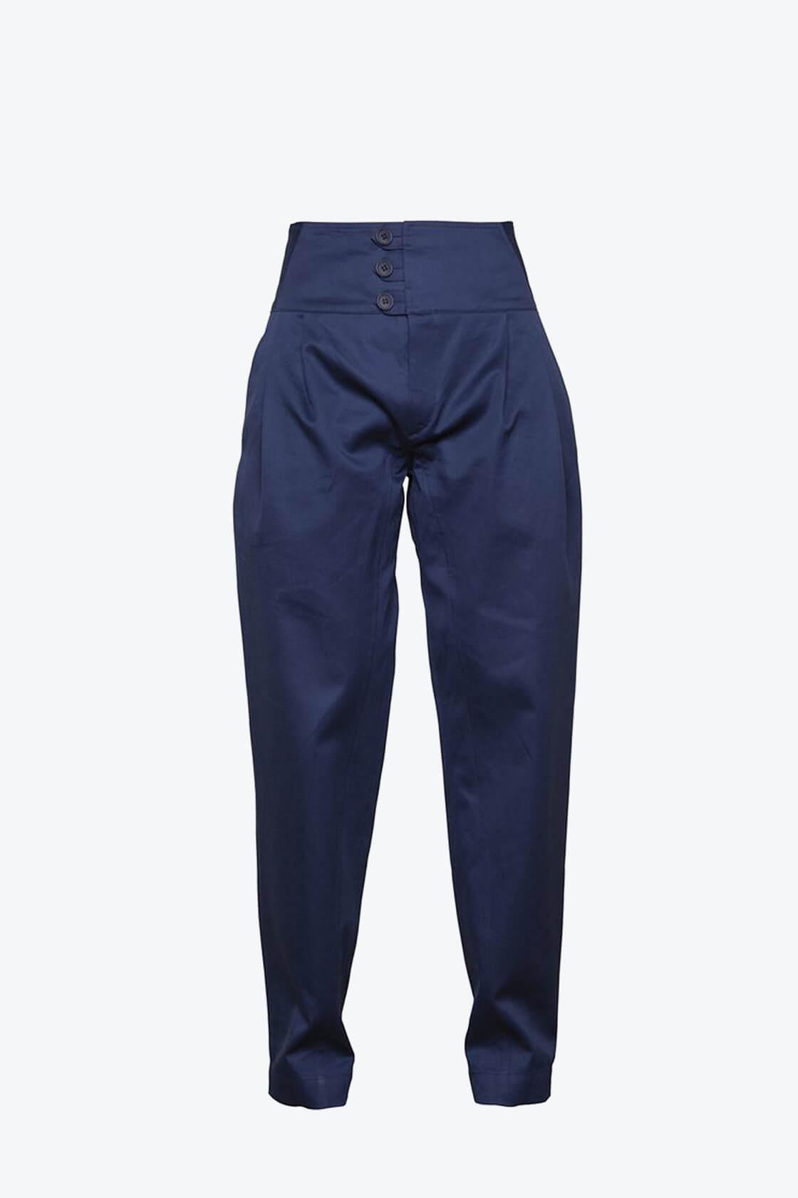 OL10000234 High waist trousers navy blue1
