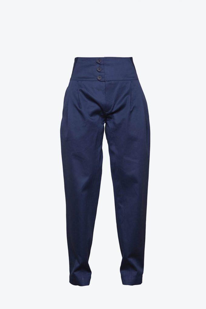 OL10000234 High waist trousers navy blue1B