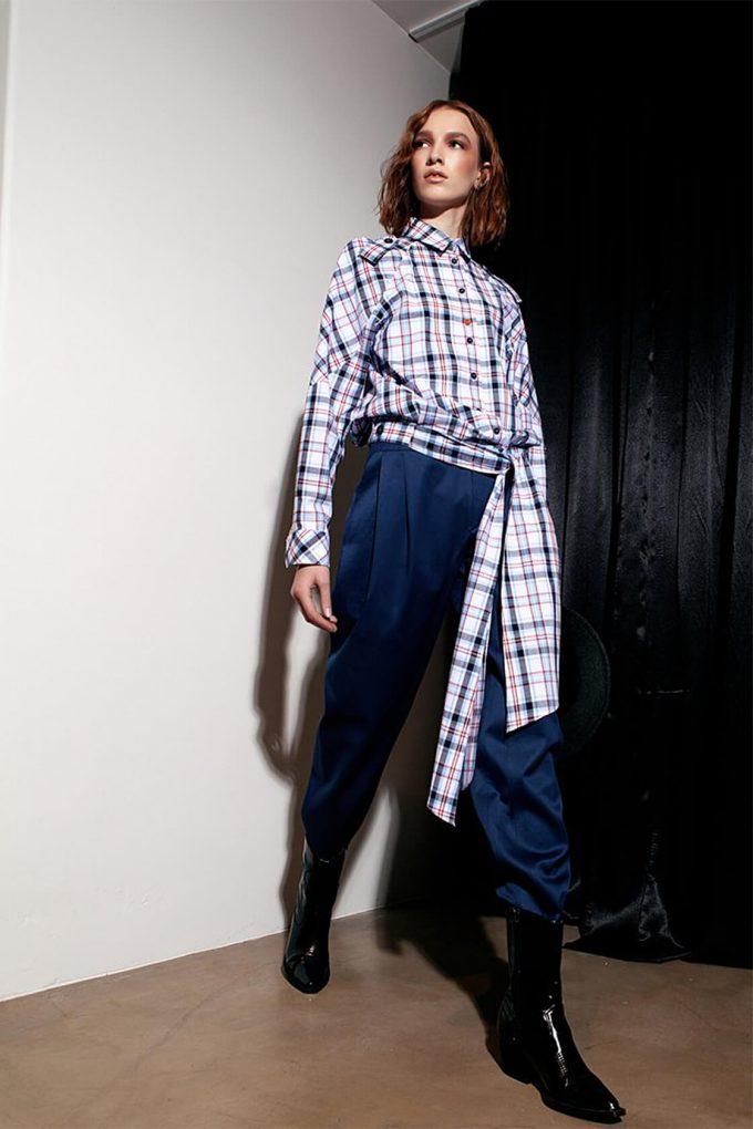 OL10000234 High waist trousers navy blue3