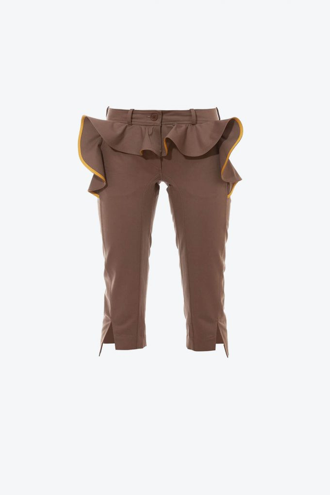OL10000236 Slim fit breeches with ruffle khaki1B