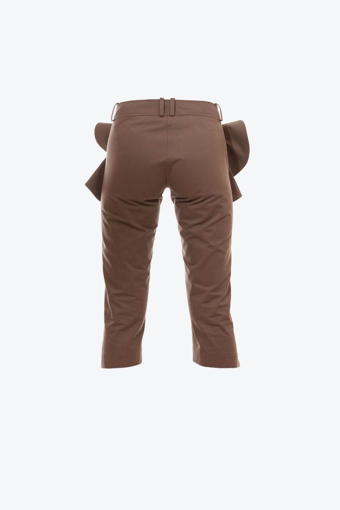 OL10000236 Slim fit breeches with ruffle khaki2