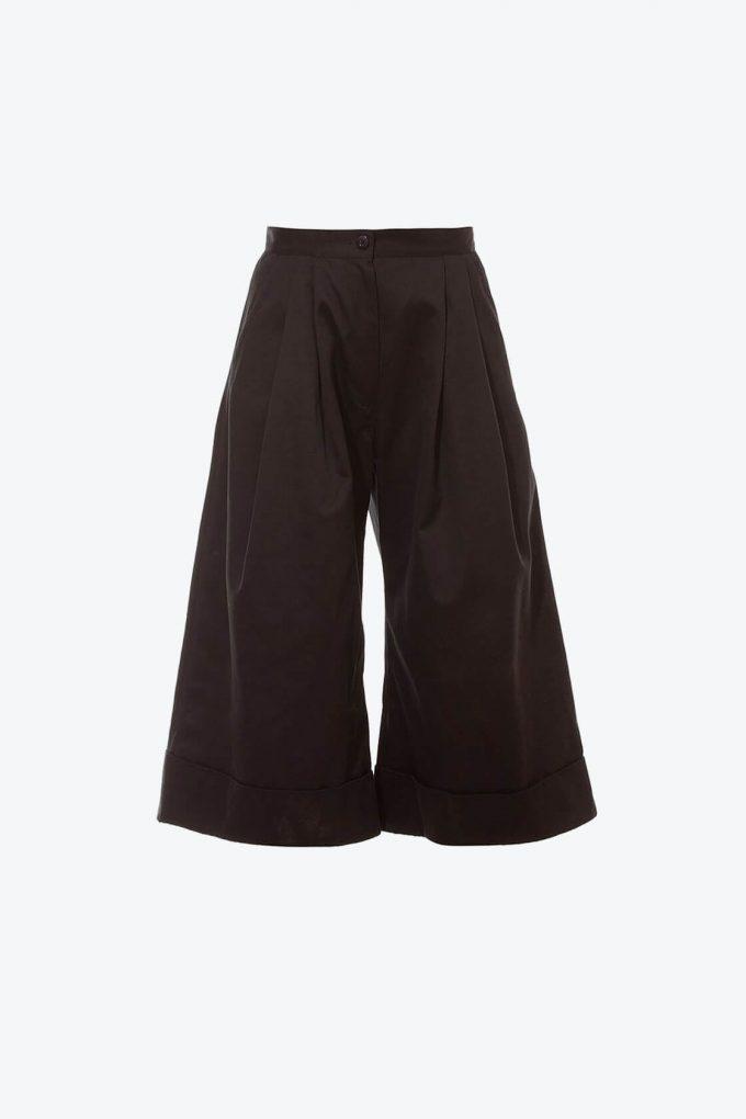 OL10000238 Wide leg 3 4 pants black1B