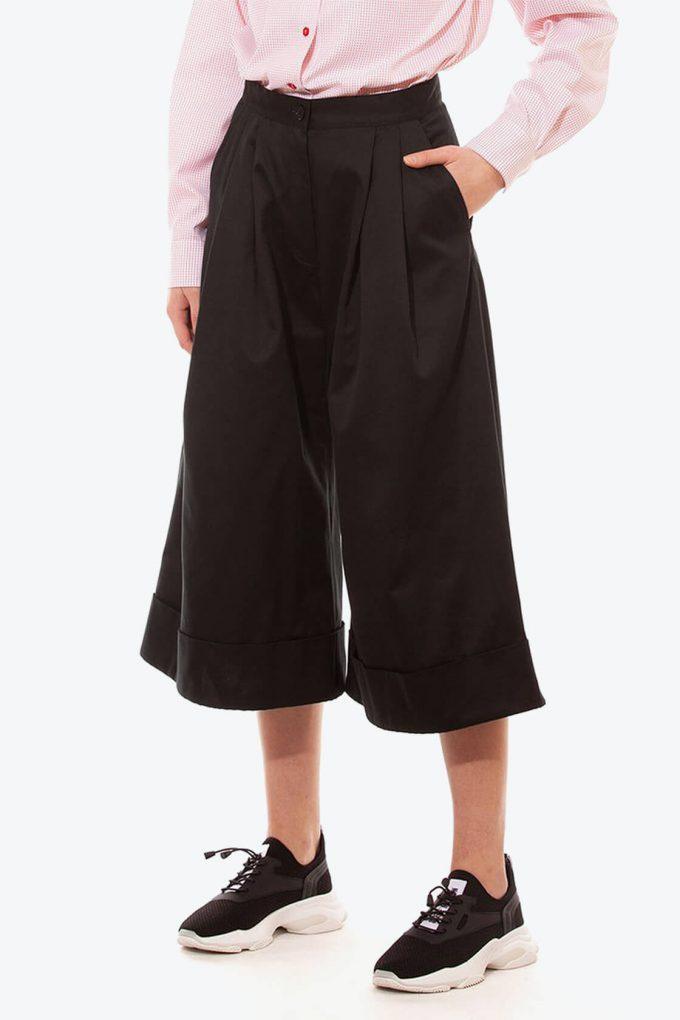 OL10000238 Wide leg 3 4 pants black3