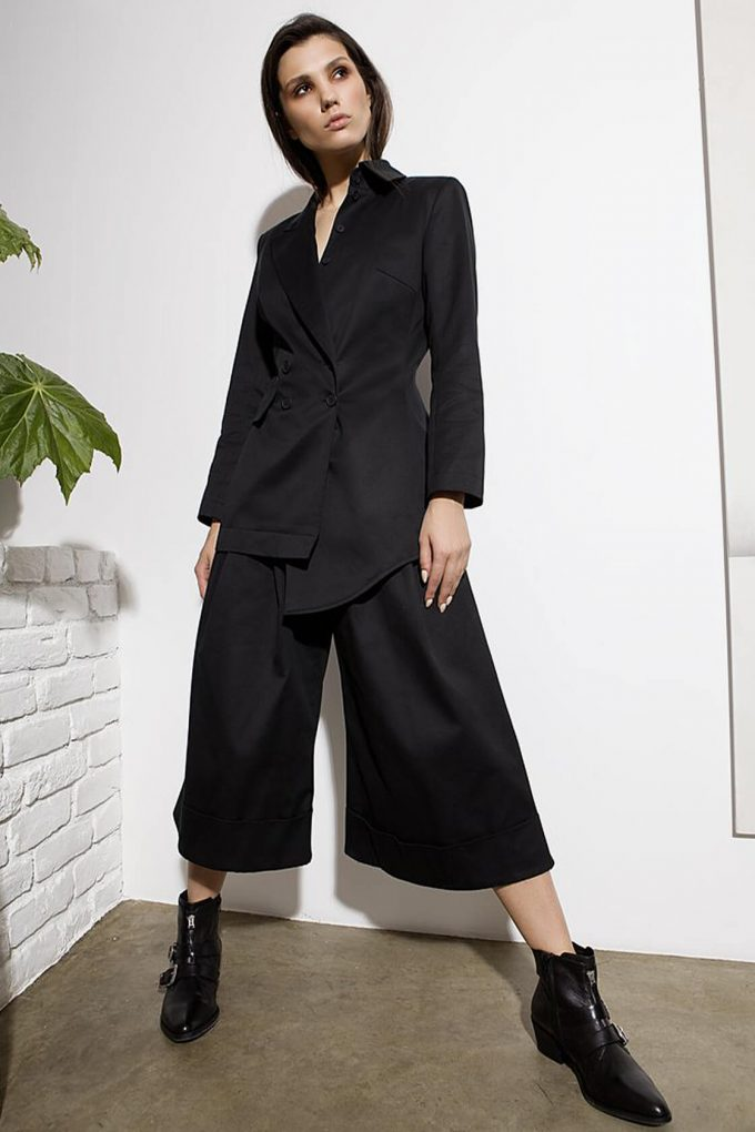 OL10000238 Wide leg 3 4 pants black4