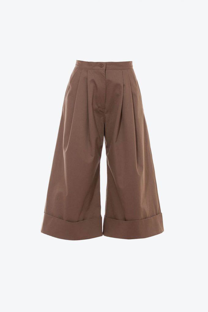 OL10000240 Wide leg 3 4 pants khaki1B