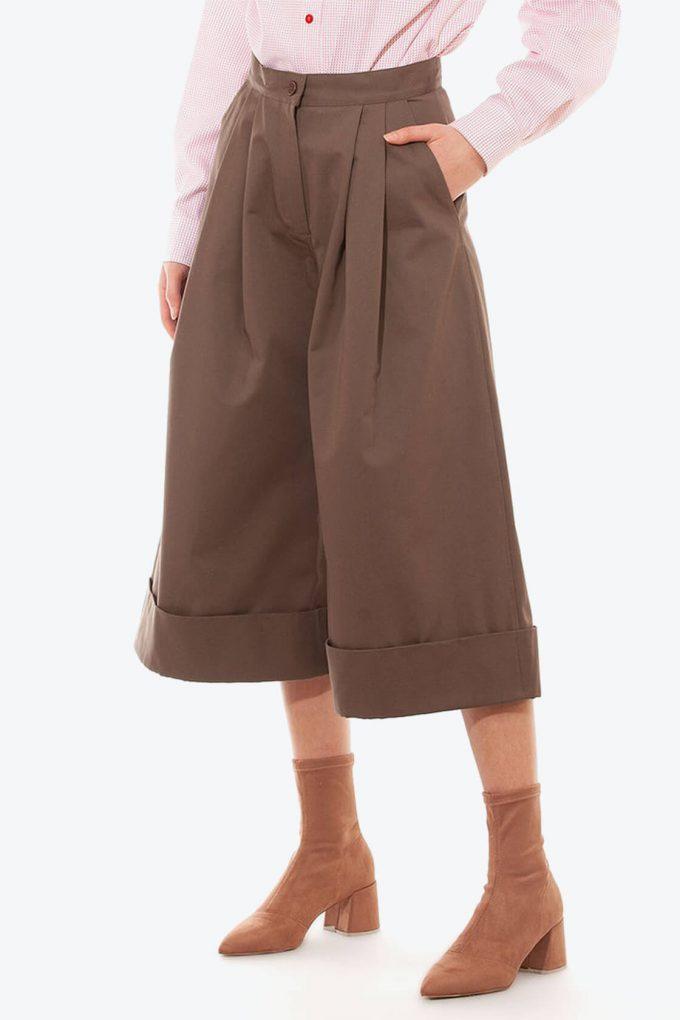 OL10000240 Wide leg 3 4 pants khaki3