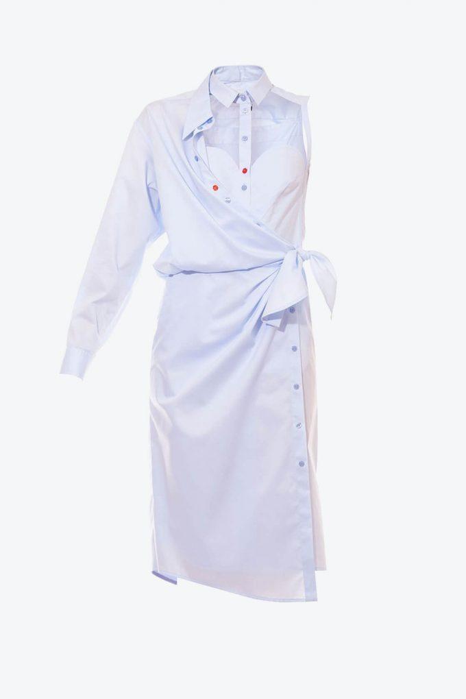 OL10000250 Asymmetric shirt dress1B