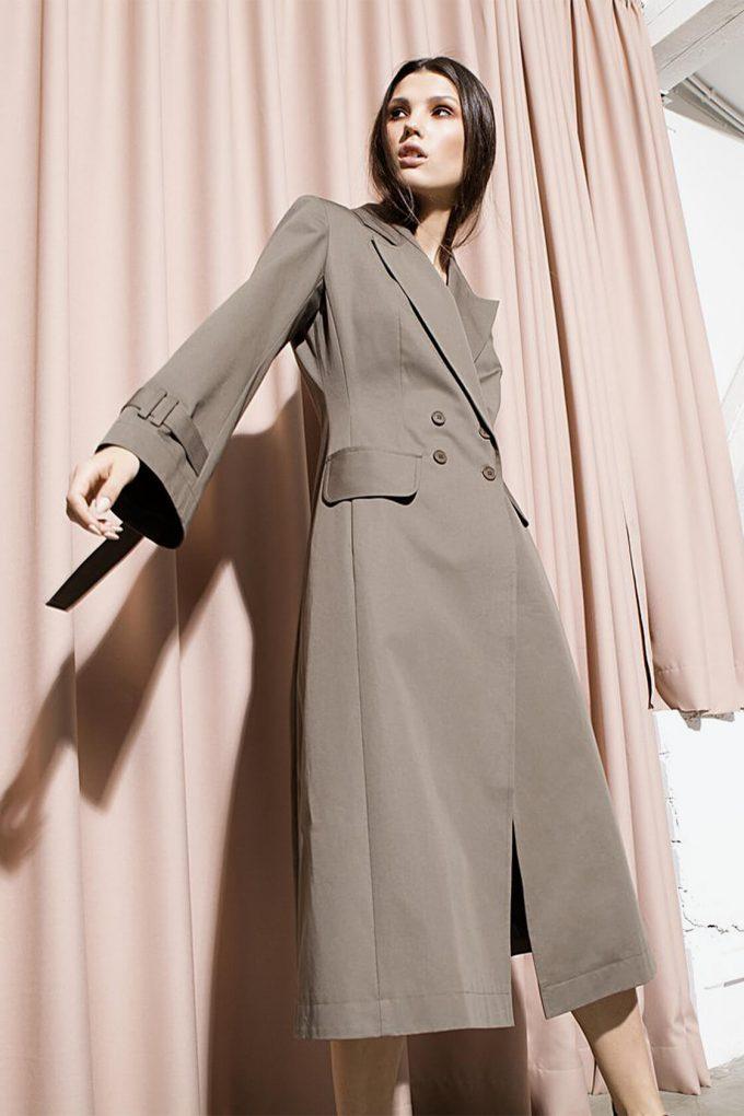 OL10000254 A line coat khaki4