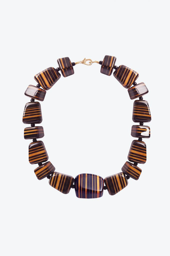 OL50000101 Hand Painted Black Luxury Statement Necklace1B