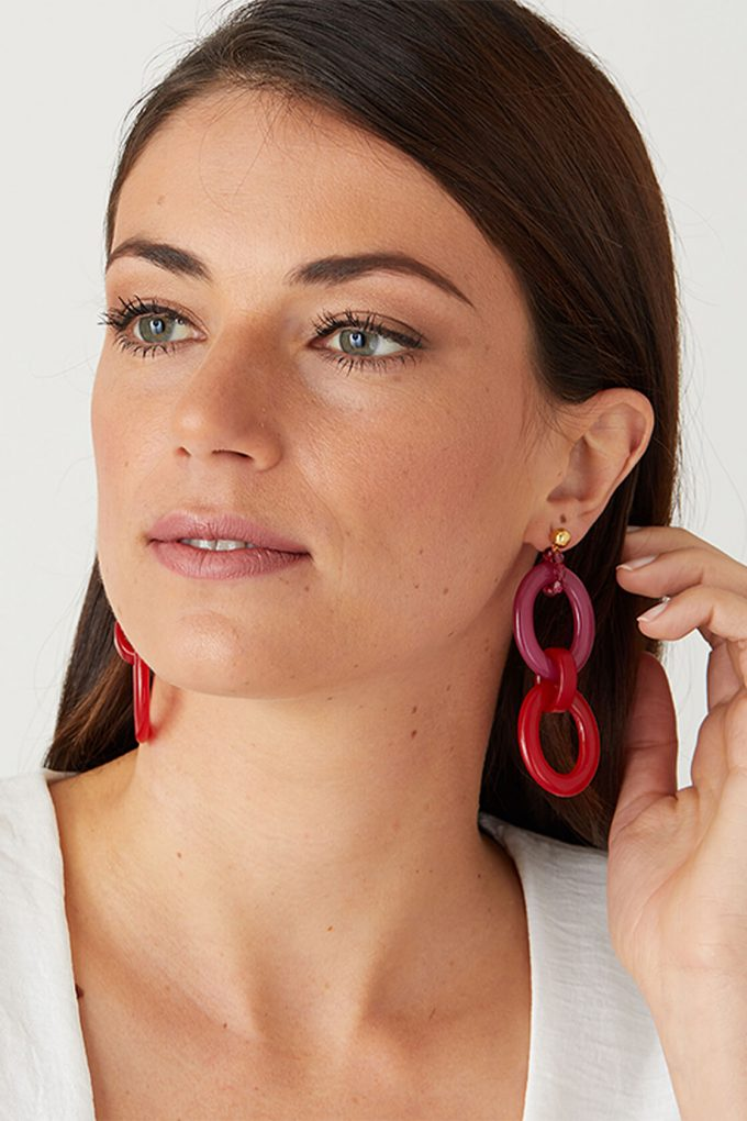 OL50000102 Red Pink Hoops Colour Block Earrings2