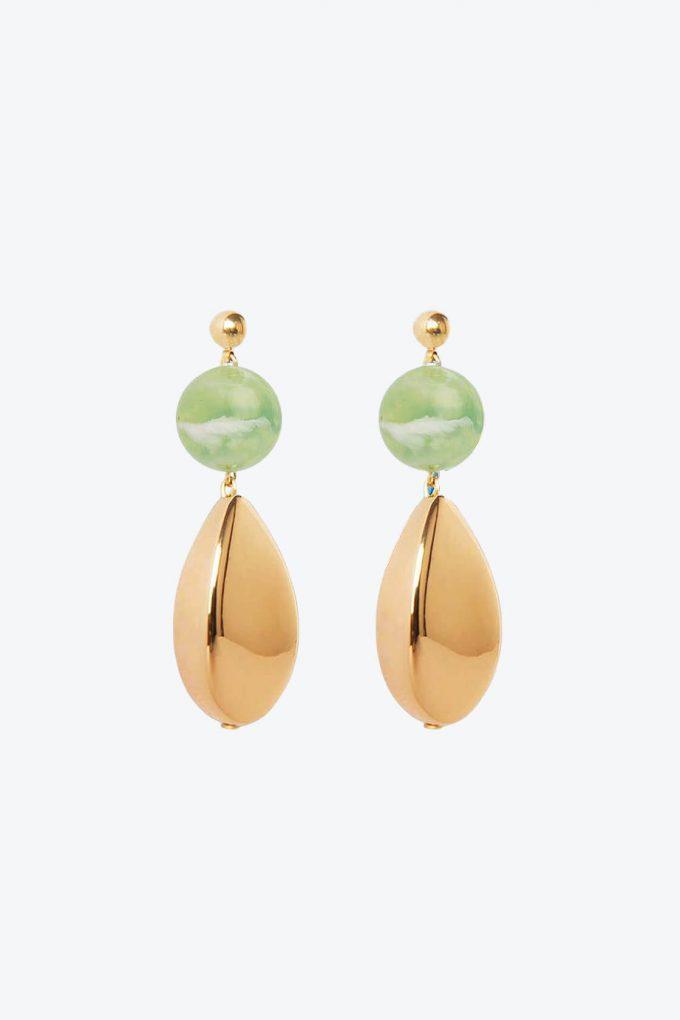 OL50000110 Green Gold Statement Earrings1B