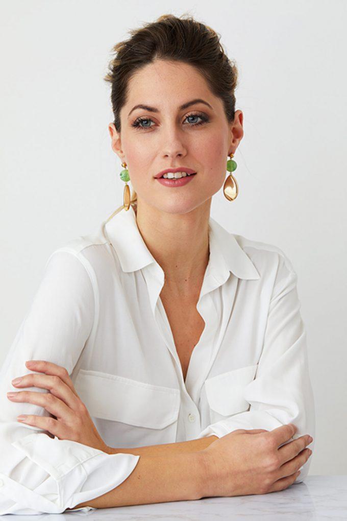 OL50000110 Green Gold Statement Earrings2