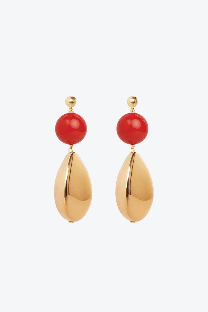 OL50000113 Red Gold Statement Earrings1B