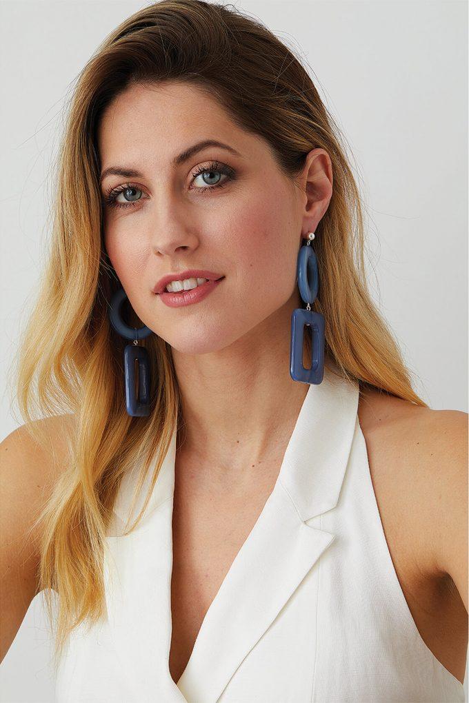 OL50000114 Blue Geometric Statement Earrings2
