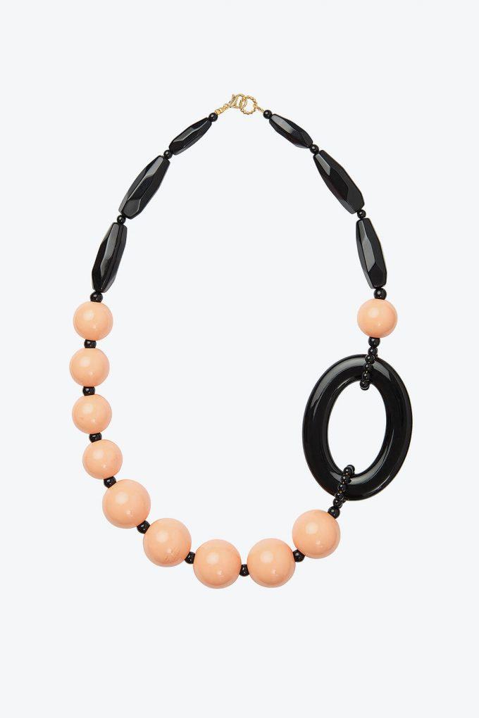 OL50000115 Pink Black Statement Necklace1B