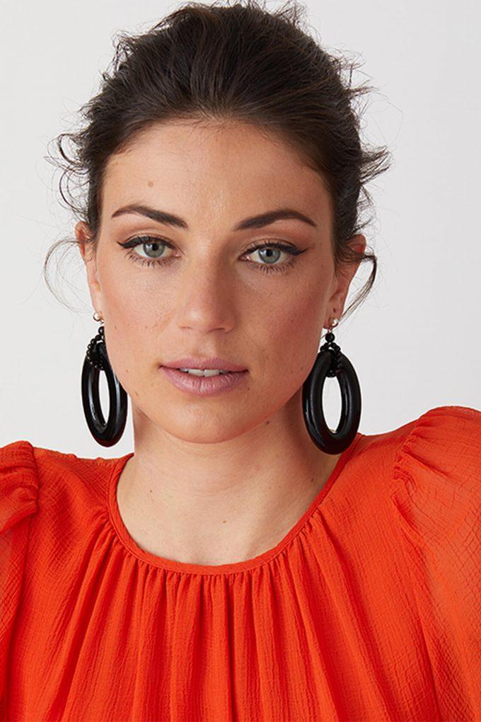 OL50000116 Black Statement Hoop Earrings2