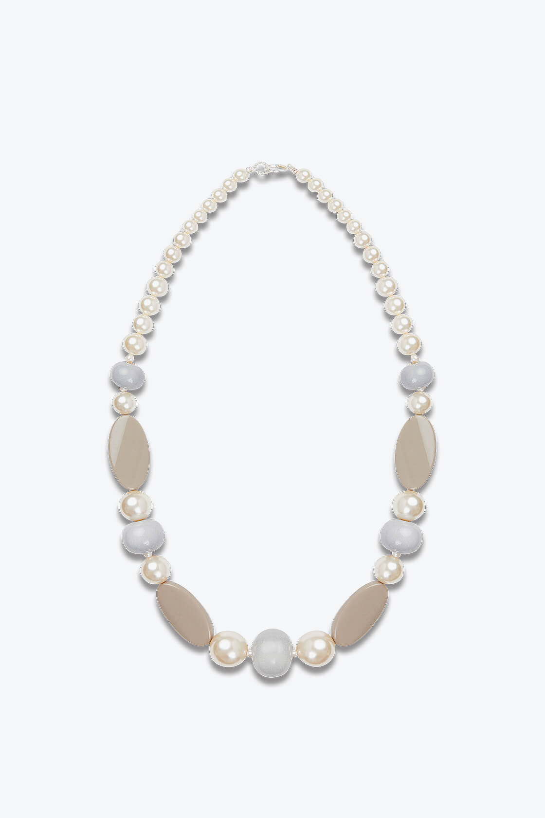 OL50000121 Elegant Pearl Beige Statement Necklace1